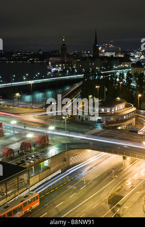 Sweden, Stockholm, Slussen, city at night, long exposure - Stock Photo