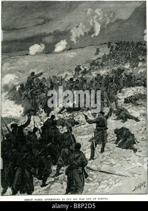 Osman Nuri Paşa attempting 1832 1900 Siege of Pleven 1877 - Stock Photo