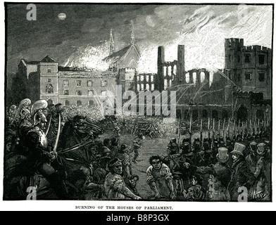 burning houses parliament 1834 ignited destroyed london england - Stock Photo