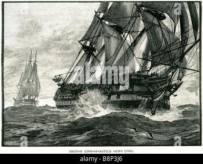 british line of battle ships 1836 naval warship tactic two column maneuver broadside guns gun - Stock Photo
