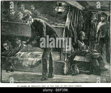 on board emigrant ship irish famine starvation disease mass emigration potato disease - Stock Photo