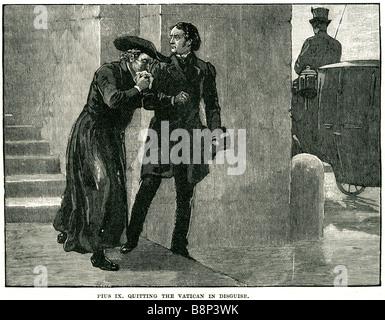 Blessed Pope Pius ix quitting vatican 1848 disguise Giovanni Maria Mastai-Ferretti Church - Stock Photo
