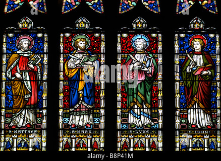 The Apostles stained glass in All Saints Church, Braunston, Northamptonshire, England, UK - Stock Photo