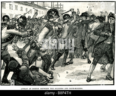 affray in boston between soldiers and the rope makers Boston is the capital and largest city of the Commonwealth - Stock Photo