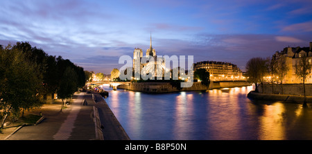 Notre Dame viewed over the river Seine Paris France - Stock Photo