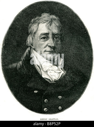 Henry Grattan 3 July 1746 6 June 1820 member Irish House of Commons Parliament Union 1800 Catholics Presbyterians - Stock Photo