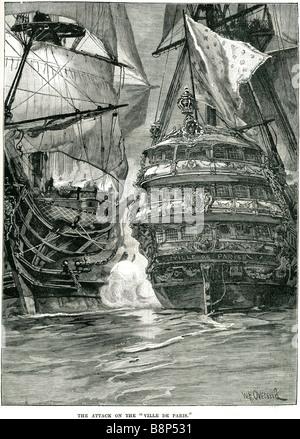 attack ville de paris large three-decker French ship flagship 90-gun Impétueux American War of Independence - Stock Photo
