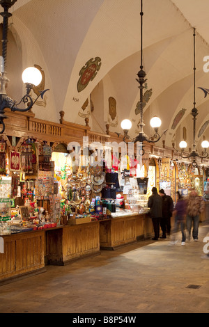 Inside the Cloth Hall (Sukiennice). Rynek Glowny, Krakow, Poland - Stock Photo