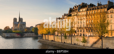 Notre Dame viewed over the river Seine in the evening light Paris France - Stock Photo