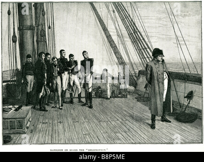 napoleon on board the bellerophon Bonaparte French Emperor military political leader battle ship - Stock Photo