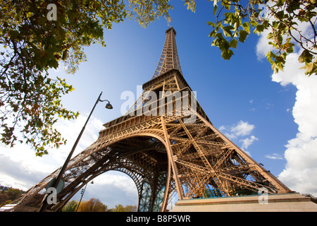 Eiffel Tower Surrounded by Autumnal Trees Paris France - Stock Photo