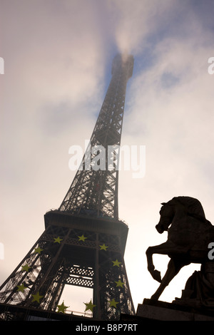 Eiffel Tower Low Angle view Paris France - Stock Photo