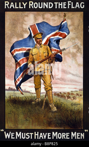 Photo of an original World War One British army recruiting poster entitled Rally Round The Flag - Stock Photo