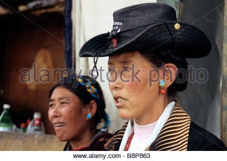 women, tibet, asia - Stock Photo