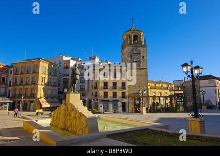 Clock tower in Plaza de Andalucía Úbeda Jaén province Andalusia Spain - Stock Photo