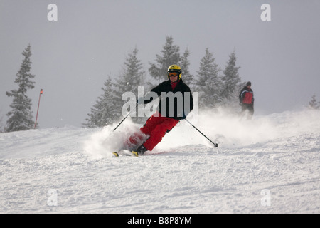 Austria Europe Skier skiing downhill with fresh snowfall on ski slope piste in Austrian Alps in winter snow - Stock Photo