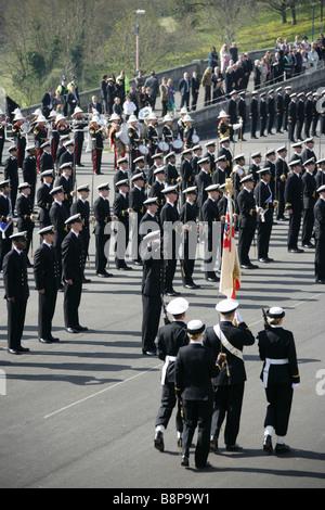 Town of Dartmouth, England. Royal Navy Officer passing out parade at Britannia Royal Naval College (BRNC) Dartmouth. - Stock Photo