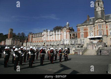 Town of Dartmouth, England. Officer passing out parade at the Sir Aston Webb designed Britannia Royal Naval College - Stock Photo
