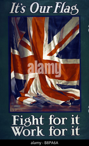 """World War One British poster featuring a Union Jack and the message """"It's Our Flag – Fight for it, Work for it'. - Stock Photo"""