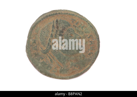 A Roman coin found in England. - Stock Photo