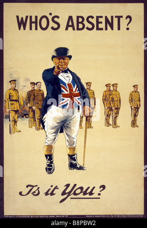 World War One British army recruiting poster featuring the John Bull character pointing and asking 'Who's absent? - Stock Photo