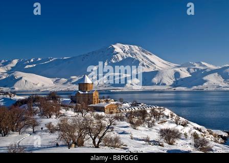 Winter scene of Akdamar Island Church and Van Lake Turkey - Stock Photo