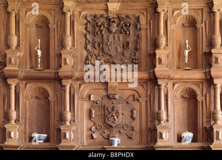 Close up of the overmantel in the Dining Room at Benthall Hall - Stock Photo