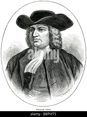 William Penn (October 14, 1644 – July 30, 1718) was founder and 'Absolute Proprietor' of the Province of Pennsylvania, - Stock Photo