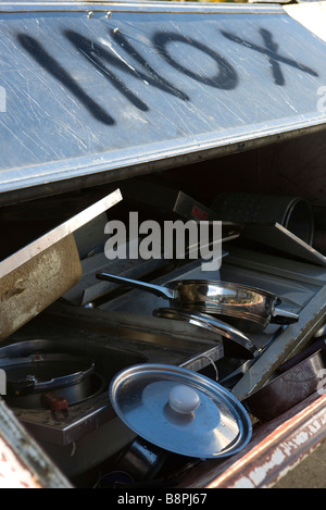 Scrap metal pile with discarded stainless steel objects - Stock Photo