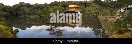 Golden Temple and lake Kyoto Kinkakuji Temple Golden pavillion Panorama - Stock Photo