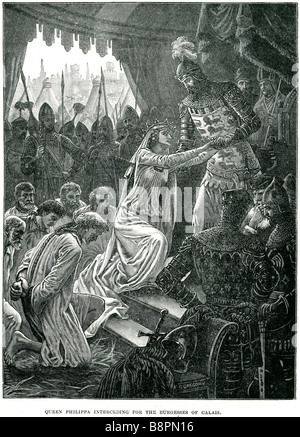 queen philippa interceding for the burgesses of calais Philippa of Hainault (24 June 1311 – 15 August 1369) was - Stock Photo