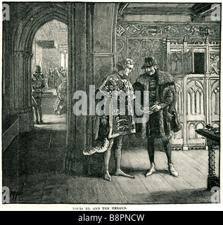 Louis XI and Herald 1423 1483 Prudent - Stock Photo