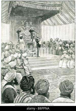 proclamation queen Victoria sovereign india Empress British Raj United Kingdom Great Britain Ireland - Stock Photo