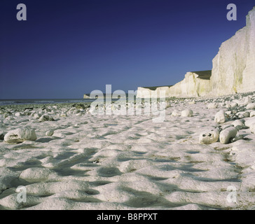 View west over the chalk beach at Birling Gap East Sussex - Stock Photo