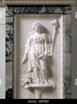A detail of the chimney piece in the Dining Room at Berrington Hall It is made of the purest Carrara marble - Stock Photo