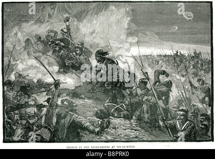 charge highlanders Battle of Tel el-Kebir 1882 Egyptian army British military - Stock Photo