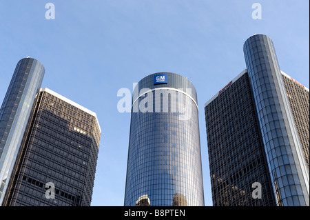 General Motors World Headquarters at the Renaissance Center in Detroit Michigan USA - Stock Photo