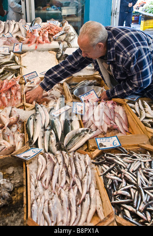 Fish for sale in the covered market in Kalamata Messinia Southern Peloponnese Greece - Stock Photo