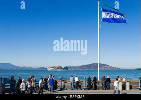 View of Alcatraz from Pier 39, Fisherman's Wharf, San Francisco, California, USA - Stock Photo
