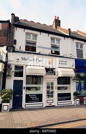 united kingdom south west london wimbledon village shops in church road - Stock Photo