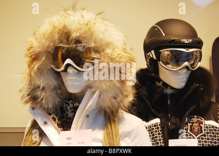 fashionable fur hats in Austrian shop - Stock Photo