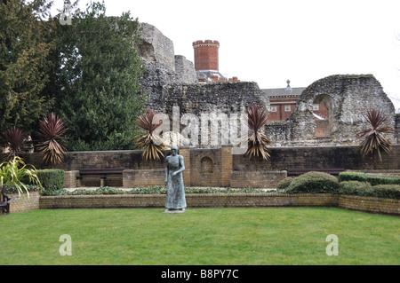 Abbey Ruins at Forbury Gardens, Reading, Berkshire, u.k. - Stock Photo