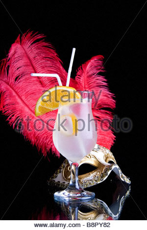 cocktail and Venetian mask - Stock Photo