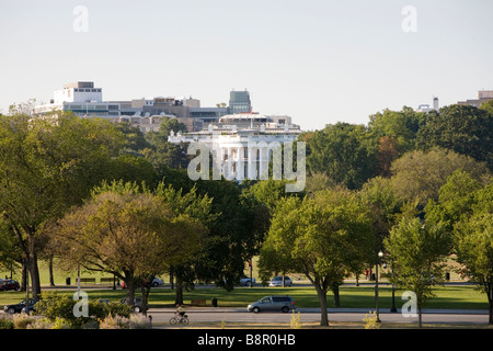 A view of the White House in Washington DC. - Stock Photo