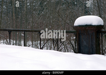 Old bridge pathway covered with snow. - Stock Photo