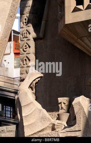 Group of sculptures on Passion facade (by Josep Maria Subirachs). Sagrada Familia. Barcelona. Catalonia. Spain. - Stock Photo