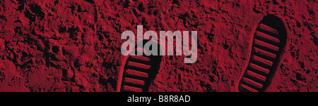 Moon boot foot prints impressions on the Mars. Red planet. Picture by Paddy McGuinness. paddymcguinness - Stock Photo