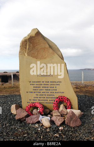 Russian Convoy Club Memorial Stone for the Sailors Who Lost Their Lives in WW2 Cove Loch Ewe Scotland - Stock Photo