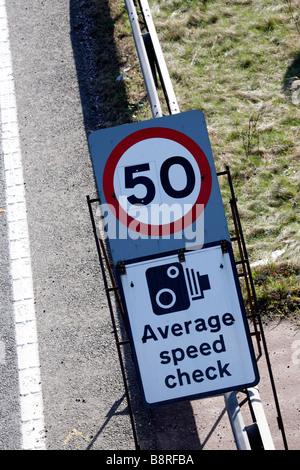 50 mph sign UK Motorway - Stock Photo