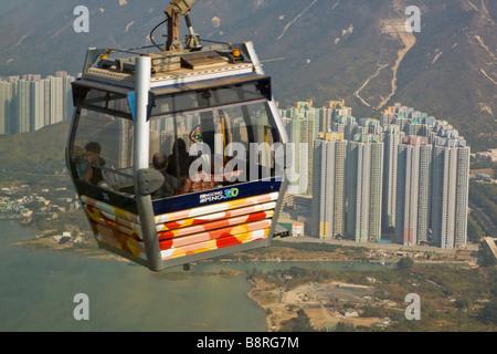 Skyrail 360 Cable Car to Ngong Ping Lantau Island - Stock Photo